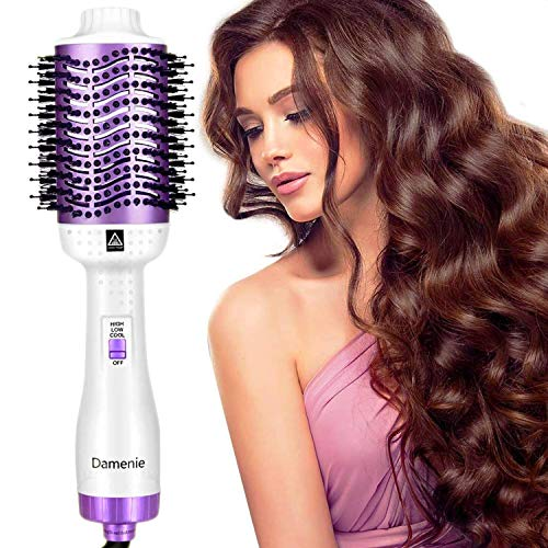 Damenie Ionen-Haartrockner Warmluftbürste, Multifunktion 5 in 1 Stylingbürste Fönbürste Elektrisch Rundbürste mit Fön Hairstyle Heißluftbürste Negativer Lonic Haarglätter für Alle Styling(Weiß Lila)