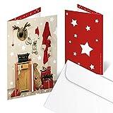 Logbuch-Verlag 10 carte natalizie per auguri saluti biglietti lettera babbo Natale stelle rosso bianco con busta renna regali famiglia clienti