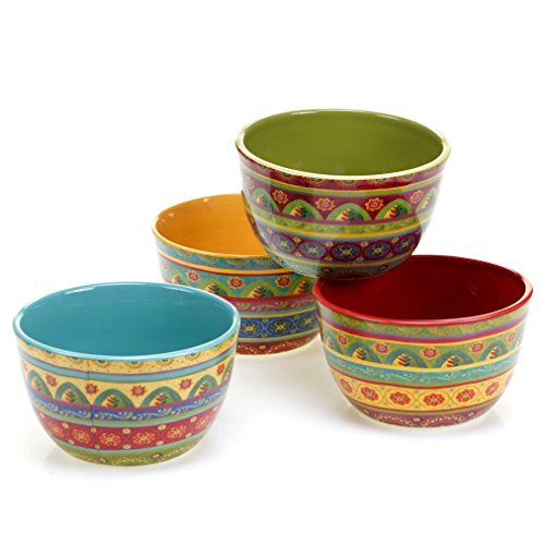 Certified International Tunisian Sunset Ice Cream Bowls (Set of 4), 5.25', Multicolor