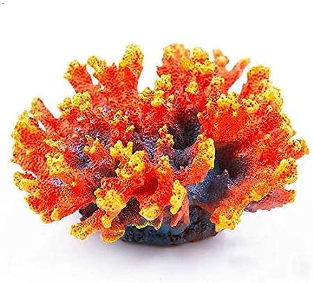 White,A Haojie Small aquarium Resin Flower Coral Aquarium Decoration Rock Aquarium Coral Reef Ornament Coral Plant Aquarium Background Decor Diameter 11cm