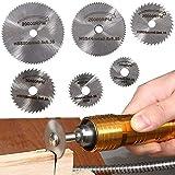 スリッターブレード 6枚入りセット 鋸刃 切断鋸 超硬丸鋸刃HSS鋼 砥石ソーブレード 木工用ブレード 木材を切るアルミ切断 (銀色)
