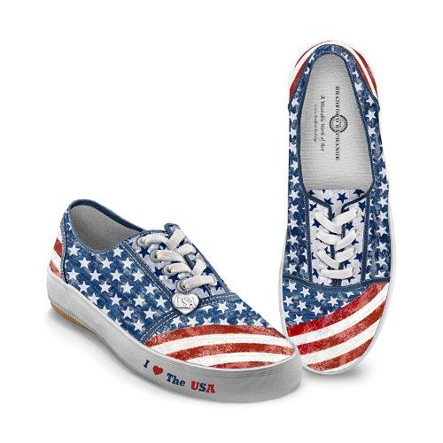 Bradford Exchange Women's Shoes: American Pride Women's Canvas Sneakers by The 8.5 M US Women