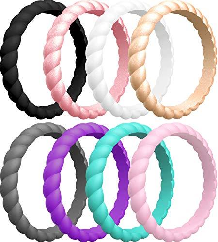 ThunderFit Thin Braided Silicone Wedding Rings for Women (Jet Black, White, Rose Gold, Pink Rose Gold, Grape Purple, Dark Grey, Teal, Baby Pink, 6.5 - 7 (17.3mm))