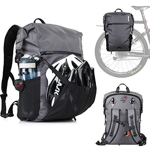 Alforja Bicicleta 24 Litros, Bolsa Bicicleta Maletero Impermeable Portaequipajes Bicicleta Trasero Bolsa Mochila Alforja Bicicleta Adapta MTB, Motocicletas
