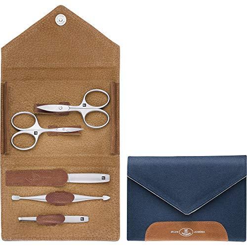 Zwilling 97701-008-0 TWINOX Kit de manucure 5 pièces pédicure soins mains pieds homme femme cuir véritable et feutre Bleu
