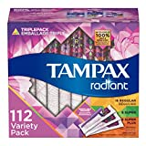 Tampax Radiant Triplepack (Regular Super Super Plus) Tampons, Unscented, 128 Ct tampons Mar, 2021