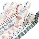 Elinala Washi Tapes, Cinta Adhesiva Decorative, Juego de 10 Cintas Washi Decorativas DIY de Estilo Fresco para Diarios de Balas, Manualidades, Embalaje de Regalo y Álbumes de Recortes