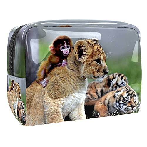 Bolsa de Maquillaje para Monedero Bolsa de cosméticos de Viaje de PVC Lion Monkey Tiger Neceser para Mujeres Niñas Regalos Organizador de Almacenamiento Diario Resistente al Agua portátil 7.3x3x5