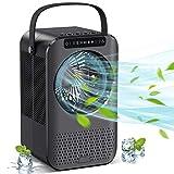 Mini Enfriador de Aire, Acondicionador de Aire Móvil, Enfriador de Aire | Humidificador | Ventilador Pequeño 3 en 1, con 3 Niveles, 7 Luces Ambientales, 2/4H Temporizador y Luz UV para Oficina y Hogar