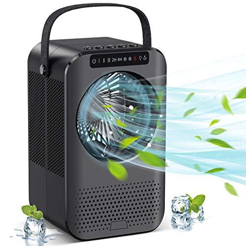Klimaanlage Mini Mobile Klimageräte, Luftkühler Luftbefeuchter Ventilator 3 in 1 klein Air Cooler Mit 3 Stufen 7 Stimmungslichtern 2 Timing und UV-Lampendesinfektion für Büro und zuhause
