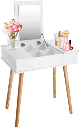 Wooden-Life Makeup Vanity Table with Flip Top Mirro,  3 Removable Organizers