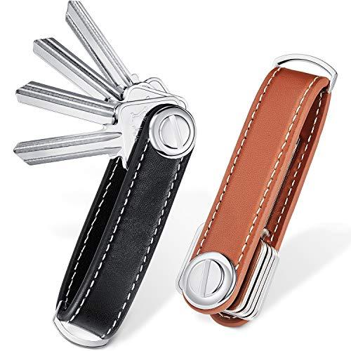2 Sets Leather Key Organizer Compact Key Holder Folding Pocket Key Holder up to 16 Keys for Mens Father's Day Gift(Black, Brown)