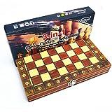 Queta Tablero Ajedrez,Juego de ajedrez de Rompecabezas,3 EN 1 Ajedrez,Damas,Ajedrez Plegable Portátil Magnético para niños y Adultos Juegos de Mesa de Ajedrez (39 X 39CM)