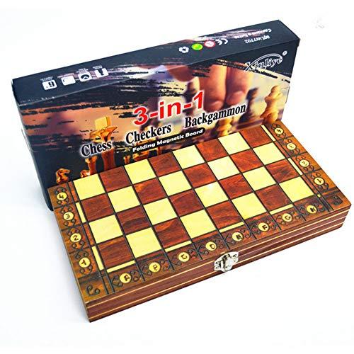 Queta 3 in 1 Schachspiel International Schach Faltbare Magnetischem Schachbrett mit Schachfiguren Klappbar Chess Board Reise Brettspiel Wooden Chess Spielzeug Holz Schach Kinder Erwachsene 39 x 39cm