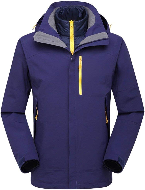 Oudan Unisex 2 in 1 wasserdicht Jacke Down Jacket Liner mit Kapuze Softshell Reisen Wasserdichte Jacken im Freien (Farbe   Lila, Gre   L)