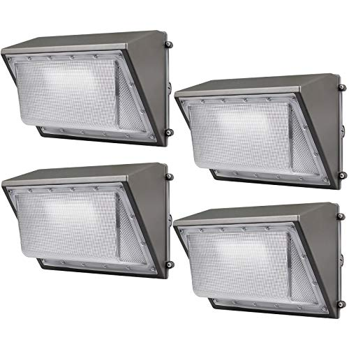 Kadision LED Wall Pack, 60W 7200LM 5000K Daylight, Dusk to Dawn Outdoor Wall Pack LED Lighting Fixture, 100-277V ETL Listed (4 Pack)