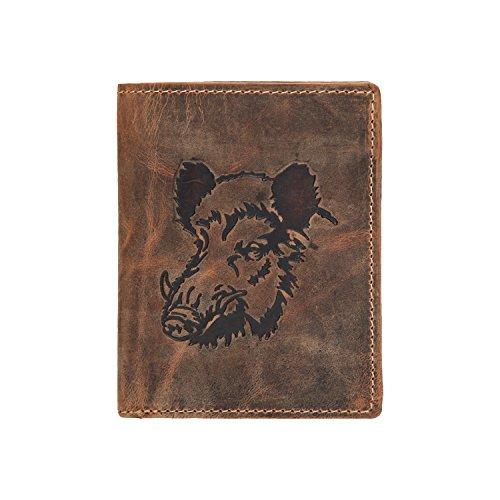 Greenburry 1701-Wild Boar-25 - Portafoglio vintage da uomo, decorato con testa di cinghiale, colore: marrone
