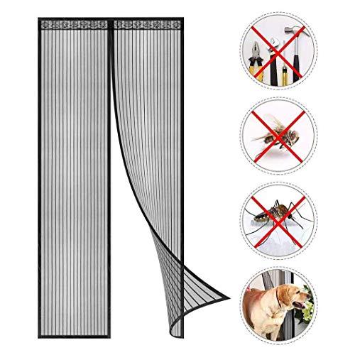 AIYYJ Magnetische bescherming tegen insecten voor de deur, installatie van gordijnen, magnetisch, zonder boren, magnetisch, Top-To-Bottom Seal Snaps schakelt automatisch uit, magnetische deurfolie
