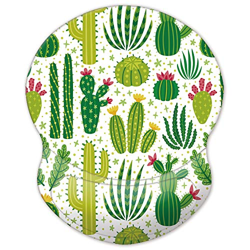 ITNRSIIET Mouse Pad, Ergonomic Mouse Pad with Gel Wrist Rest Support, Gaming Mouse Pad with Lycra Cloth, Non-Slip PU Base for Computer, Laptop, Home, Office & Travel Cactus