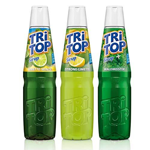 TRi TOP Getränkesirup 3er Set | Zitrone-Limette, Waldmeister, Limette-Minze | 3x600ml [5Liter Erfrischungsgetränk pro Flasche]