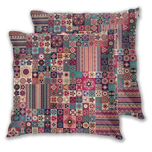 YAOAYAOE Fundas de Cojín Paquete de 2, Patchwork marroquí Floral patrón geométrico Azulejos marroquíes árabe Tradicional tunecino Original,Decorativa Impreso Caso de Almohada Cuadrado Fundas de