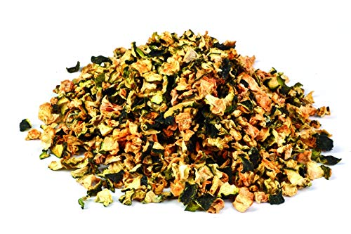 Pezzi di zucchine biologiche essiccate 1kg Fairtrade BIO verdure, qualità del cibo crudo, secci, per frullati, zuppe, insalate e come spuntino, aromatico dolce, giallastro/verdastro/brunastro 1000 g