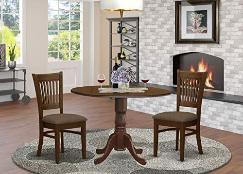 East West Furniture DLVA3-ESP-C 3-Pc dining table set Espresso finish- Two 9-inch Drops Leave and Pedestal Legs wood table & 2 Slatted Back wooden dining chairs