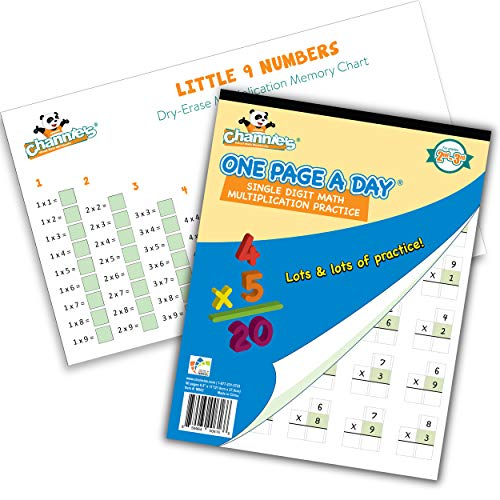 Channie's Math Practice Combo Pack for Elementary School Students, One Page a Day Workbook and Little 9 Little Numbers Reusable Dry Erase Poster for Practicing Single Digit Multiplication Problems