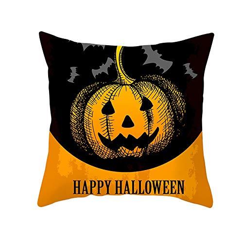 Fundas de Almohada para Cojines 45x45cm, Tema naranja de Halloween Piel de melocotón suave Funda de almohada decorativa for el hogar moderna Funda de almohada de funda de almohada creativa cuadrada 18