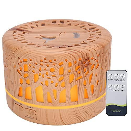 700ml Aroma Diffuser,Hollow Wood Grain Humidifier,Aroma Air Diffuser 7 Color Light Humidifier (110‑240V)(UK Plug)