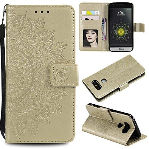 LODROC LG G5 Hülle, TPU Lederhülle Magnetische Schutzhülle [Kartenfach] [Standfunktion], Stoßfeste Tasche Kompatibel für LG G5 (H850) - LOHH0501188 Gold