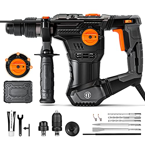 Rotary Hammer Drill 9.5A, 1'' SDS-Plus & 1/2 Keyless Chuck, 9lbs, 1050RPM, 4400BPM, 4 Functions, Vibration Damping Technology, Used for Concrete Metal and Stone - TRH02A