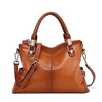 Kattee Women s Genuine Leather Purses and Handbags Satchel Tote Shoulder Bag  Brown
