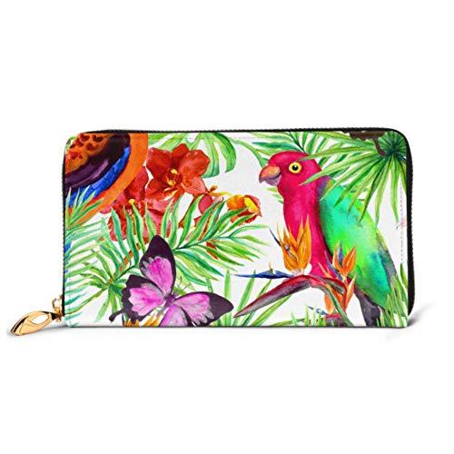 XCNGG Mode Handtasche Reißverschluss Brieftasche Wild Papagei Vögel Schmetterlinge Tropenwald Telefon Clutch Geldbörse Abendkupplung Blocking Leder Brieftasche Multi Card Or. En