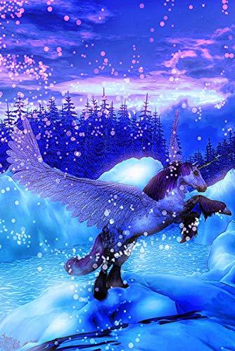 Pintura diamante bricolaje 5D diamante completo diamante redondo nieve Pegasus 30x40cm bordado artesanía cosida a mano cristal rhinestone decoración de la pared pintura