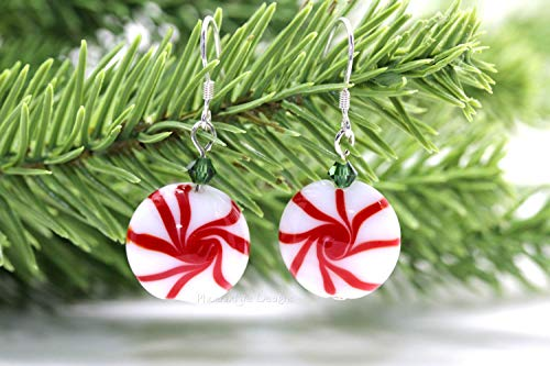 Peppermint Swirl Candy Christmas Earrings Lampwork Starlight Mints Glass and Swarovski Crystal on Sterling Silver