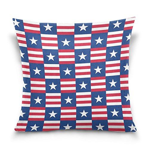 ALAZA Housse de Coussin carrée à Rayures Rouges et étoile Blanche pour canapé, Chambre à Coucher, Voiture 40,6 x 40,6 cm, Coton, 41 x 41 cm