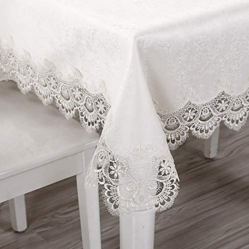 Asunflower Tablecloth Rectangle 60' x 106' Wrinkle Free Table Cloth Elegant Lace Table Cover for Kitchen, Wedding,Holidays - White