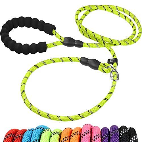 Joytale Reflektierend Retrieverleine für Kleine Mittel Hunde,Nylon Seil Hundeleine mit Zugstopp, Grün