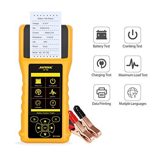 Batterieladetester 12V/24V 20-3000 CCA Kurbel und Ladesystem Batterieanalysator Diagnose Tester mit Drucker für Schwere Lastkraftwagen, Autos, Motorräder und mehr