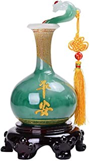 Prime Fengshui Resin Ru Yi Vase Statue as You Wish Home Decor Symbol for Good Luck Safty Health(Green)