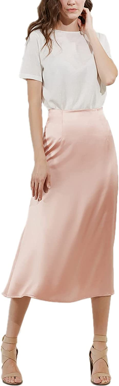 Allonly Women's Elegant Silk Slim Fit A-Line High Waist Plain Midi Skirt