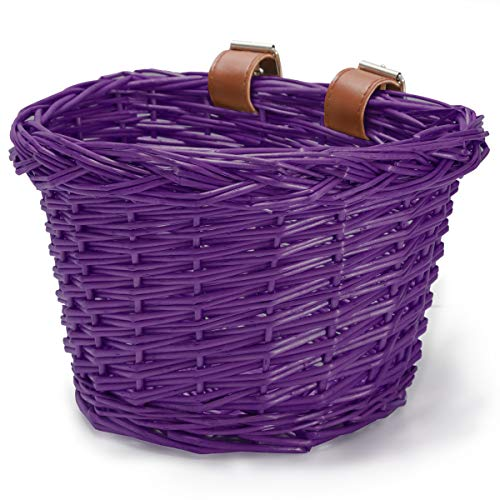 cycmoto Kids Bike Basket, Bicycle Accessories, Handlebar Storage with Leather Strap, Scooter, Purple