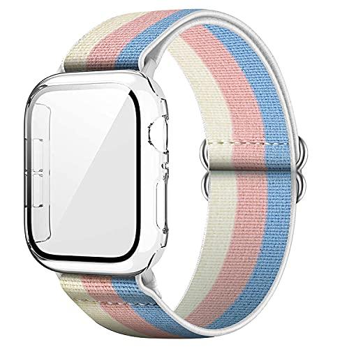 Qeei Mujer Estirable Patrón Nylon Correa Compatible con Apple Watch 38mm Series 3, Incluir 9H Duro Funda Protector Cubierto por Vidrio Templado (Transparente), Casual Rosa
