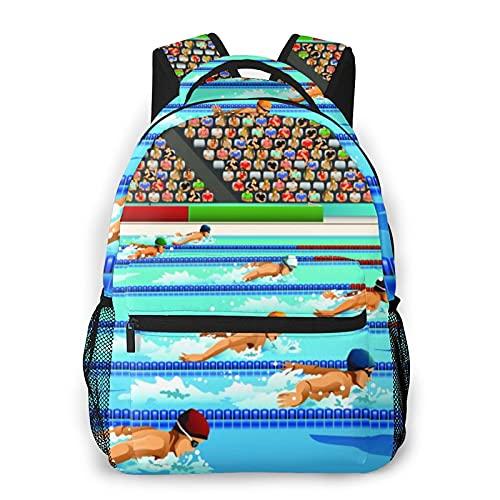 EUlemon Mochila para computadora portátil de viaje,Nadadores durante la competición de natación para la serie de competición deportiva,mochila antirrobo resistente al agua para negocios
