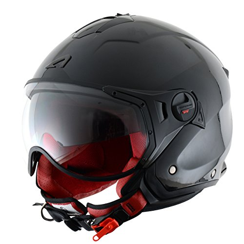 Astone Helmets MINISPORT-BKM Minijet Sport - Casco de motocicleta, Negro Brillante, M