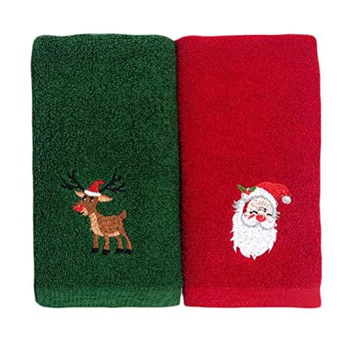 Yunobi - Set di 2 asciugamani natalizi in puro cotone al 100%, ricamati, per bagno, cucina, decorazione
