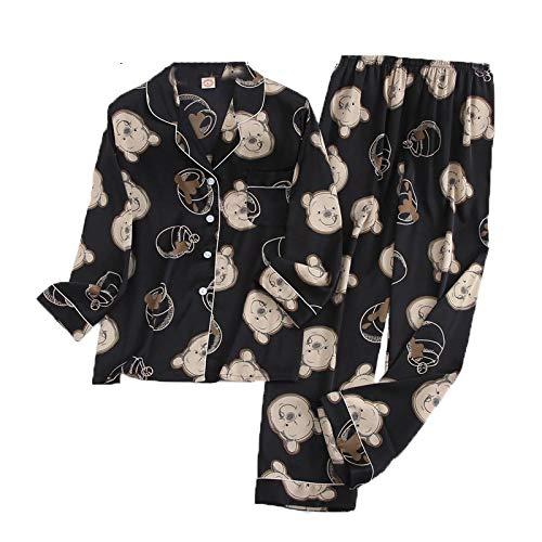 LEYUANA Pijamas novedosos para niñas, Ropa de Dormir de Manga Larga, Ropa de Dormir cálida de Invierno, blacksetM
