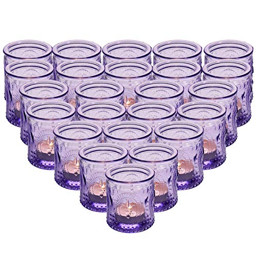 """MICROSUN 24-Pack Glass Vintage Candle Holders Votive Candle Wax Cups Tealight Holders - Perfect for Table Centerpieces, Wedding Prom,Party, Home Decor, 2.28""""D x 2.75""""H(Purple)"""