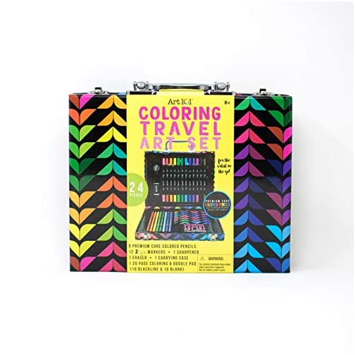 Art 101 Coloring Travel Art Set with 24 Pieces in a Colorful Carrying Case, Multi |